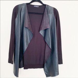 Zara Leather Drape Open Front Cardigan Black